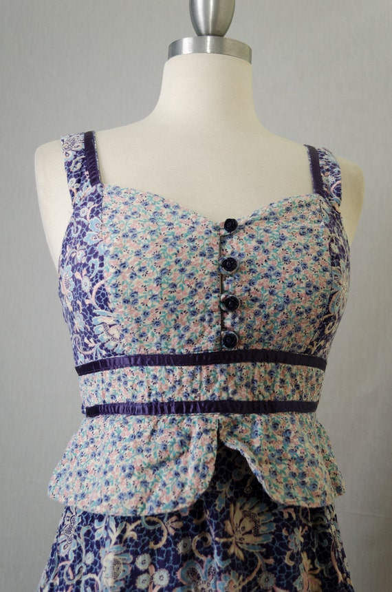 70s Vintage Blue Floral Peplum Patchwork Gunne Sax Style Peasant Dress Appx Size Extra Small/Small (1970s)