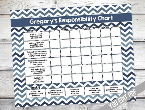 chore chart for kids teen reward chart responsibility