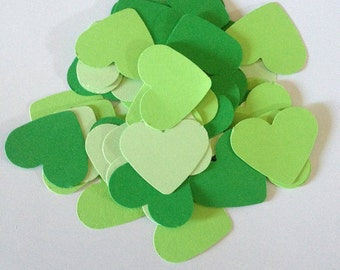 100 Green Punch Out Hearts