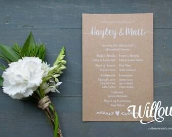Love & Heart Wedding Program