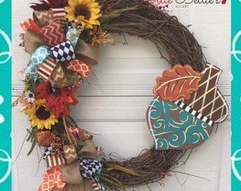 Large Fall Acorn Grapevine Wreath