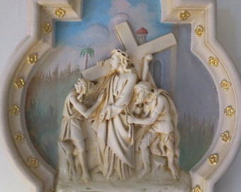Antique religious art wall plaque/ Catholic church station of the cross/ Collectible Jesus church frame/French art plaster Jesus wall plaque