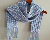 Crochet Scarf - Colorful Fringe Scarf - Warm Scarf