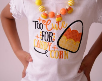 Candy Corn Shirt for Girls Sizes Newborn to Youth XL with Candy Corn Tutu, Leg Warmers, Bloomers and Headband