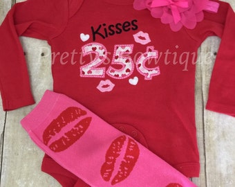 Baby Girl Valentines Outfit – Kisses 25 Cents – with Lip Leg Warmers, and Tulle and Pearl Headband in Sizes 3 Months to XL14