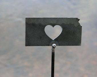 Kansas State Heart Garden Art Stake