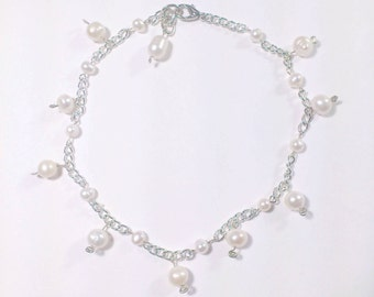 Bracelet chain with freshwater pearls