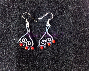 Coral and Hematite earrings