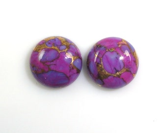 Purple Copper Turquoise Cabochons 11mm Round Shape Purple Color Accented with Copper Tones (9133)