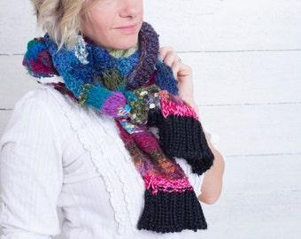 Hand knit, custom scarf, designer original freeform, knit with designer fibers