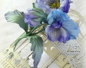 Violet Blue Viola pansy heartsease flower bouquet silk boutonniere corsage brooch natural fabric Wedding dress decor bride hat bridesmaids