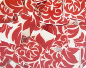 TROPICAL HAWAIIAN Funky Mod Red & White Hibiscus Floral Mix Groovy Mosaic Plate Tiles Set of 50 Pieces 5 Dollars Unlimited Shipping!
