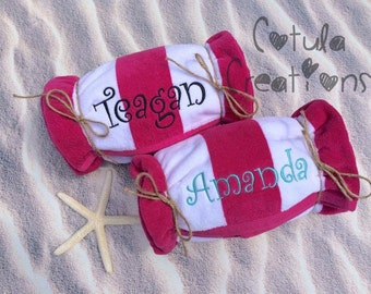 Monogram - Personalized- Pink & White Cabana Stripe Beach Towel - Summer Gift - Pool Party Favor - Bridesmaid gift - Birthday - Vacation