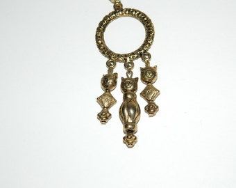 Vintage Extra Long Gold Tone Cat Charm Necklace