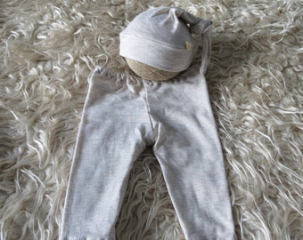 Newborn 'finn' oatmeal pants & sleepy knot beanie  set baby photo