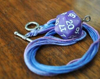 Pearlescent Purple D20 Necklace
