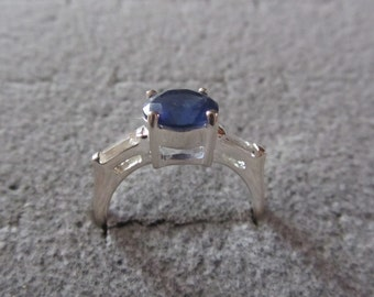 Sterling Silver Ring Blue Sapphire