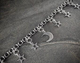 Stainless Steel Starlight, Starbright MOON & STARS Charm Bracelet