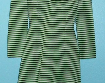 60s70s Green, White and Navy Stripy Polyester Hipster Day Dress  — Ladies Size Large/12-14