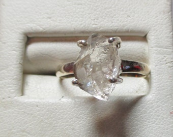 Ladies sterling silver Herkimer diamond ring in sterling stunning solitaire