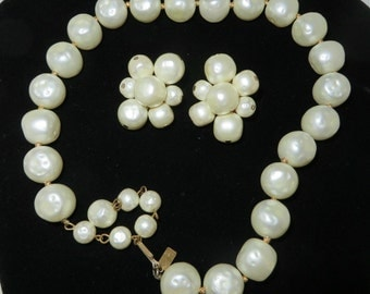 Hattie Carnegie Necklace Earring Set, Vintage  Faux Pearl Choker, Cluster Clip-on Earrings