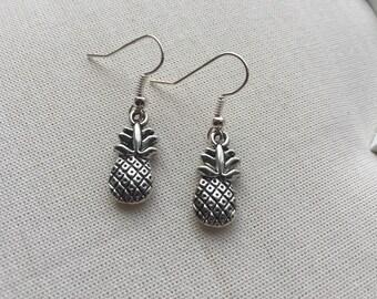 Pineapple Silver Earrings - Silver Charm Jewellery Summer Fruit Rockabilly Design Steampunk