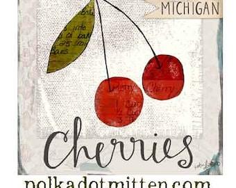 Michigan Cherries Art Print on Wood