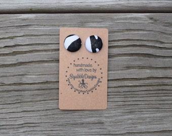 Handmade Fabric Covered Button Earrings, Zebra, Animal Print