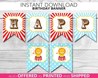 Circus Birthday Banner, Circus Bunting, Carnival Banner, Pennant, Birthday Bunting, Carnival, Circus, Party Decoration, INSTANT DOWNLOAD