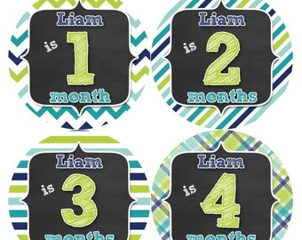 PERSONALIZED Baby Boy Month Stickers Monthly 12 Month Sticker Monthly Baby Stickers Baby Shower Gift Photo Prop Milestone Sticker 500