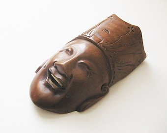 """Chinese Good Fortune Mask Laughing Taoist Sage Ornament Wall Hanging 6"""""""