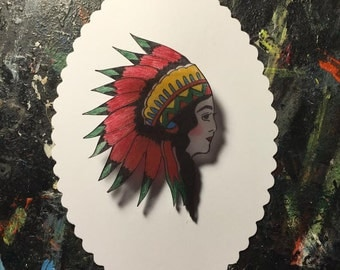 Indian Princess - Vintage Tattoo - Hand Drawn Shrink Plastic Brooch Pin Back by Silla Dilla Grape