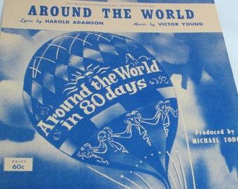 Around the World, Sheet Music, Romantic Lyrics, Around the World in 80 Days, 1950s Movie, Vintage Sheet Music, Copyright 1956