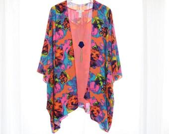 Floral Kimono Cardigan / Modern Kimono / Colorful Lightweight Wrap / Boho Kimono / Floral Kimono Top