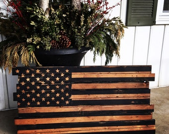 American Flag, Wooden black and brown American Flag