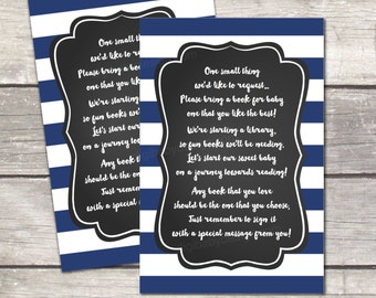 Book cards, baby boy shower book card, chalkboard, instant download, oh boy, navy blue stripes, printable file