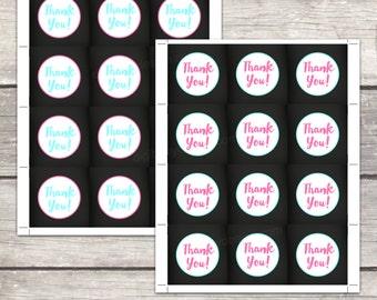 Thank you tags, bbq baby beer, chalkboard, instant download, pink and teal, printable files