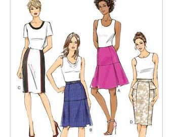 Butterick pattern 6060 Misses Skirt size 6-14 Semi fitted princess seams style variation peplum pleats UNCUT FREE SHIPPING