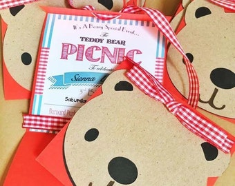 Teddybear teddy picnic party invitations