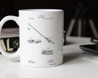 Fishing Rod and Reel 1884 Patent Mug, Vintage Fishing, Fisherman Gift, Lake House Decor, Cabin Mug, PP0490