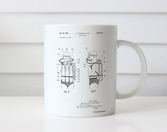 Jacques Cousteau Diving Suit Patent Mug, Nautical Mug, SCUBA Diving, Underwater Mug, PP0897