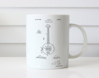 Modern Banjo Patent Mug, Folk Music, Musician Gift, Bluegrass, Music Room Mug, PP0242