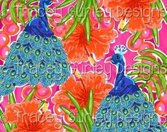 Peacock digital paper, tropical digital paper, preppy digital paper, tropical bird, preppy paper, island art, instant download