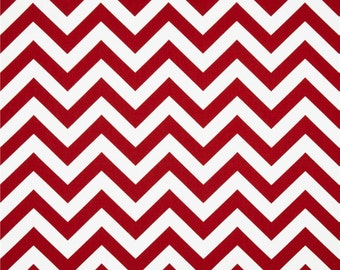 SHIPS SAME DAY Red Chevron Fabric- Red Decor Cotton Premier Prints Zigzag Lipstick/White Red and White Zig Zag Stripe Fabric - By 1/2 Yard