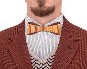 Wooden Bow Tie - Zebrawood / gift for men, wooden accessories