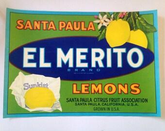 Original El Merito Lemons fruit crate label circa 1950's. Not a reproduction.