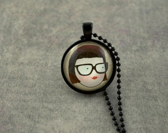 "Girl Necklace, Geek Pendant, Geek Girl, Black Necklace, 1"" Glass Dome Necklace"