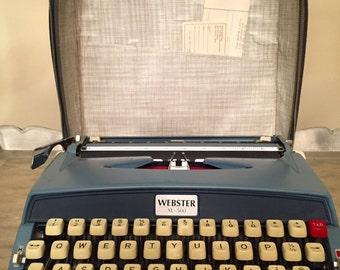 Vintage Brother Webster XL-500 Blue Portable Manual Typewriter Case Clean Japan