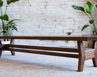 Midcentury Modern Bench Walnut Dining Table Entryway