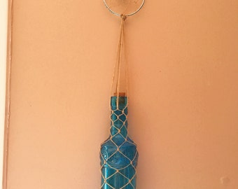 Blue Hanging Bottle with Dreamcatcher